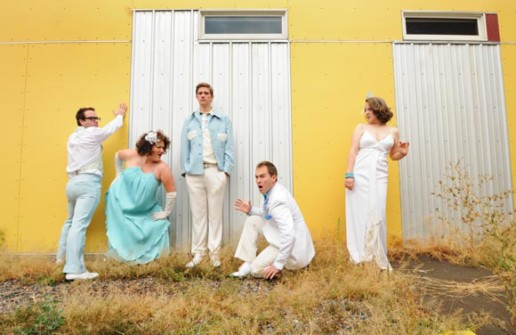 The Buntport Theater Company (left to right): Brian Colonna, Hannah Duggan, Erik Edborg, Evan Weissman and Erin Rollman.