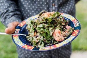 A dandelion salad whipped up by DJ Cavem.