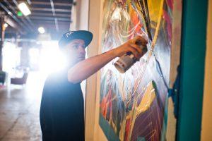 Jolt uses spray paint as his main art medium.