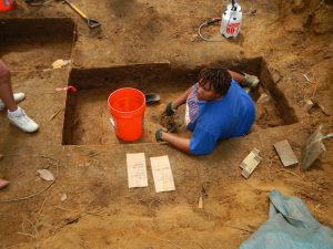 Mia Carey, M.A., at the Yarrow Mamout Archaeology Project dig site