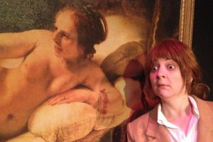 "Buntport Theater's Erin Rollman performs in the one-woman ""Rembrandt Room."""