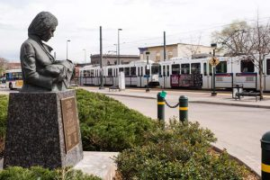 """Jess DuBois' """"Lady Doctor"""" can be found at the 30th and Downing station plaza in Five Points."""