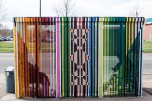 Art isn't as prevalent at bus stops as it is at rail stations.