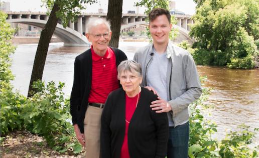 Carl Atiya Swanson with his grandparents