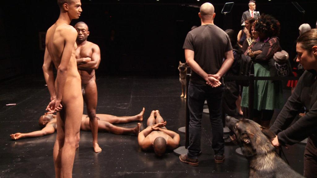 Video still from Dread Scott: Decision, a performance by Dread Scott, 2012.