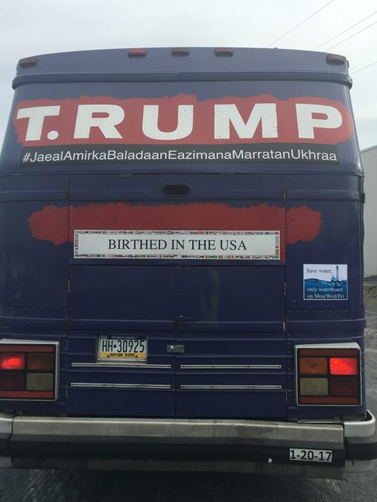 Back of T.RUMP bus.