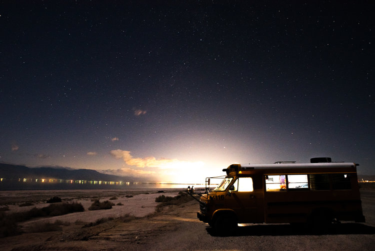 Gus the Bus at the Salton Sea. Photo by Ali Rogers