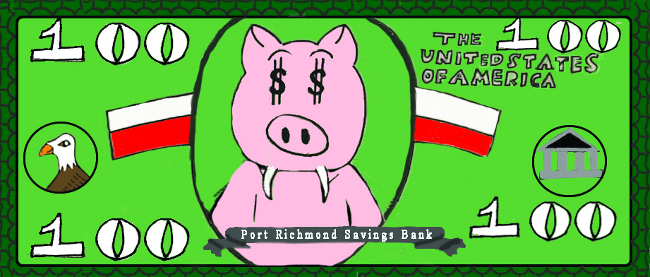 $100 bill designed with a pig with dollar signs for eyes