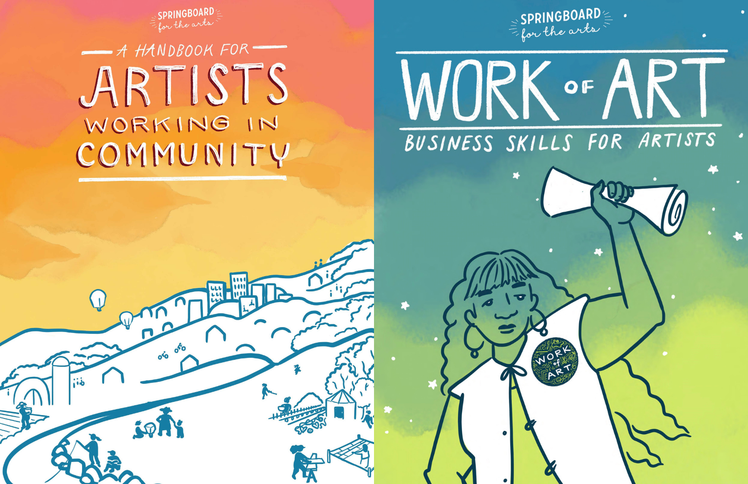 Covers for Handbook for Artists Working in Community and Work of Art