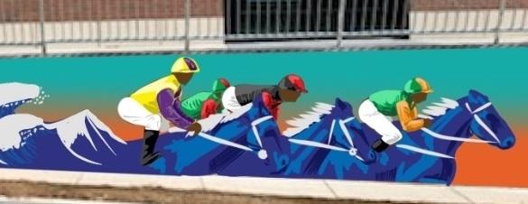 A community mural of jockeys.