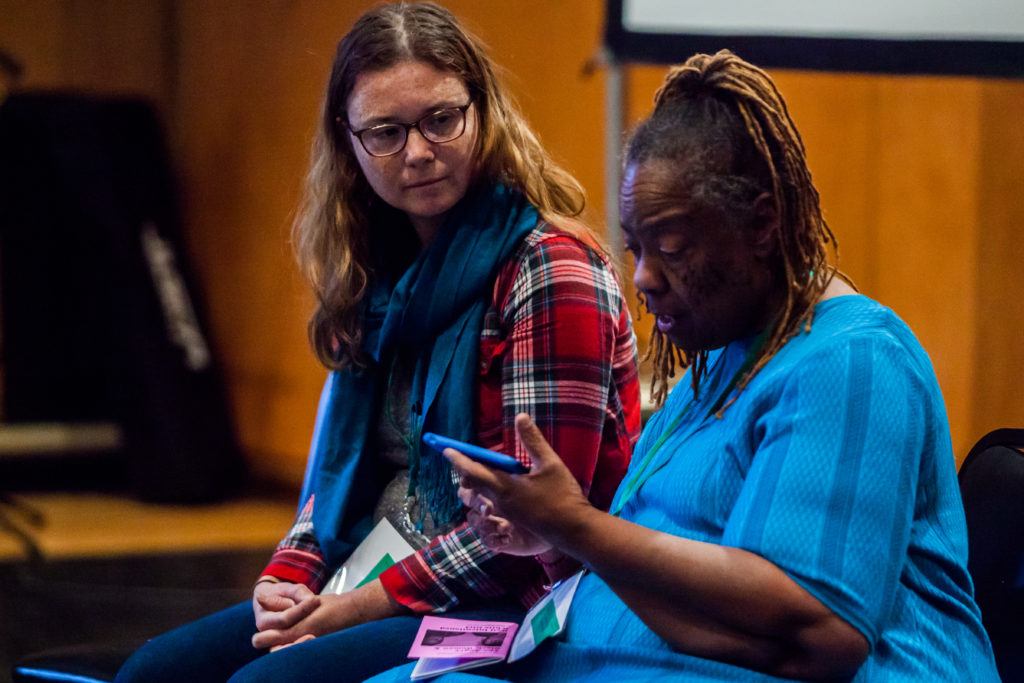Amoke Kubat performing The Angry Black Woman & Well Intentioned White Girl at the 2019 Rural Arts & Culture Summit